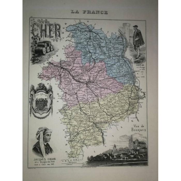 Carte ancienne Authentique du Cher 1861