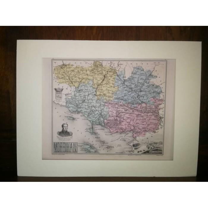 Carte ancienne Authentique du Morbihan 1861