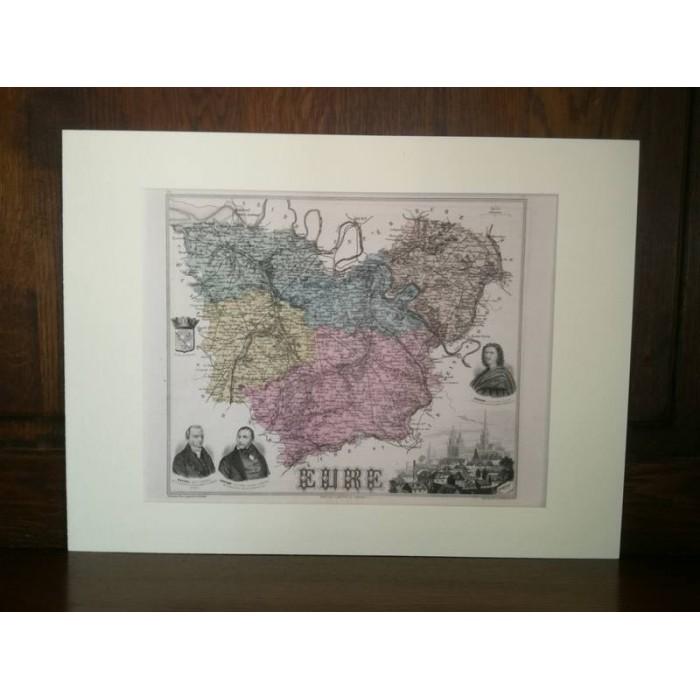 Carte ancienne Authentique de l'Eure 1861