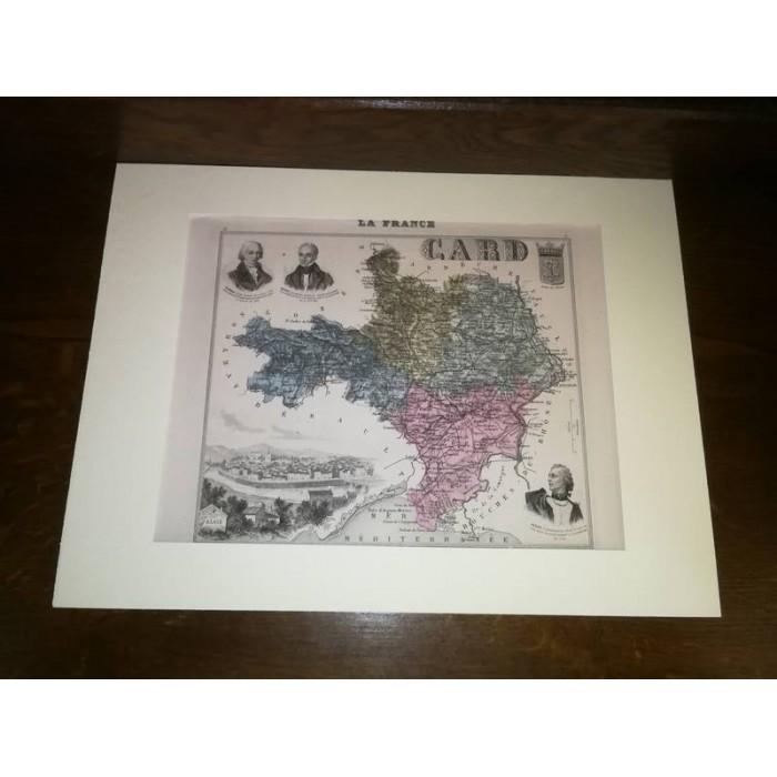Carte ancienne Authentique du Gard 1861