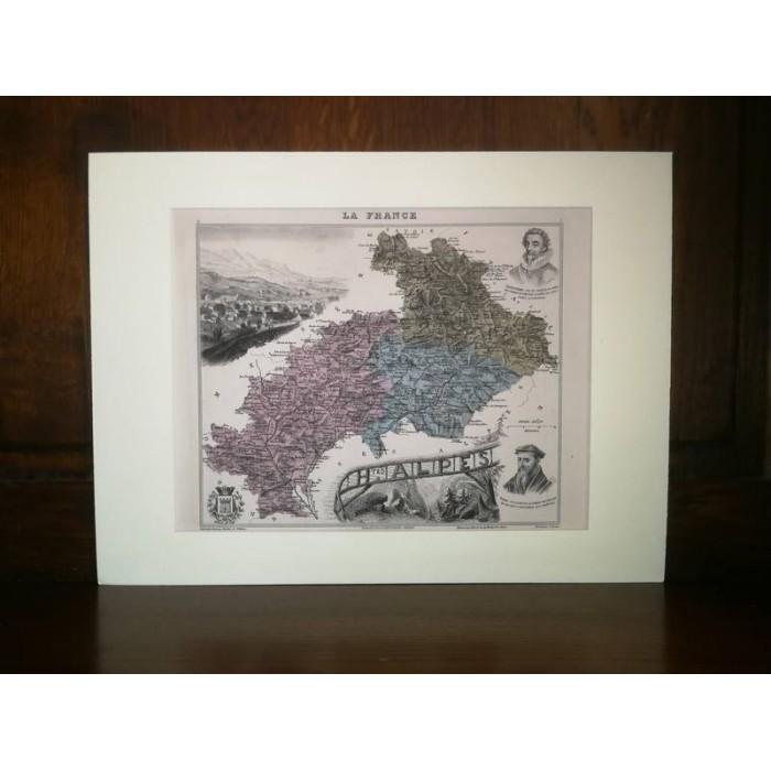 Carte ancienne Authentique des Hautes Alpes 1861