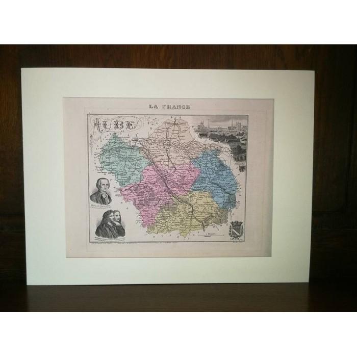 Carte ancienne Authentique de l'Aube 1861
