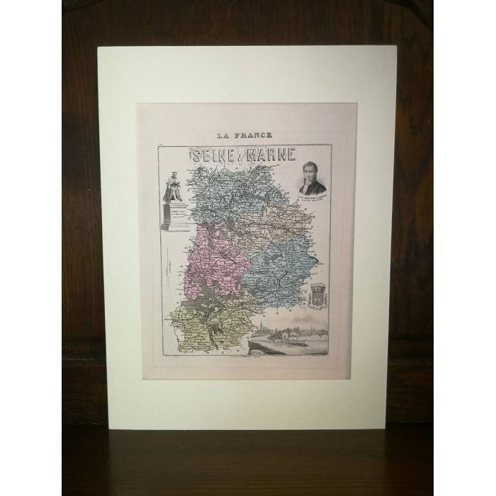 Carte ancienne Authentique de La Seine et Marne 1861