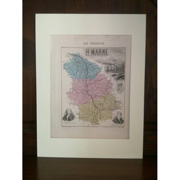 Carte ancienne Authentique de La Haute-Marne 1861