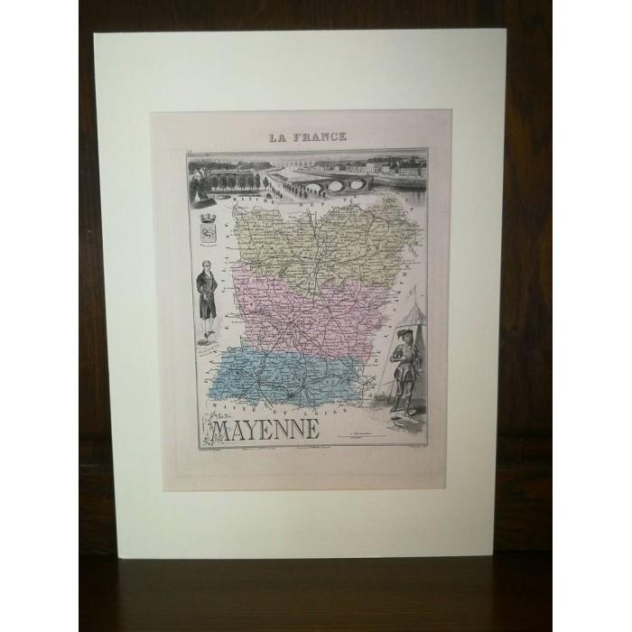 Carte ancienne Authentique de la Mayenne 1861