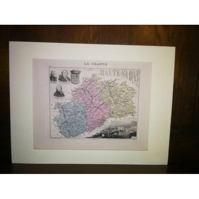 Carte ancienne Authentique de la Haute-Saône 1861
