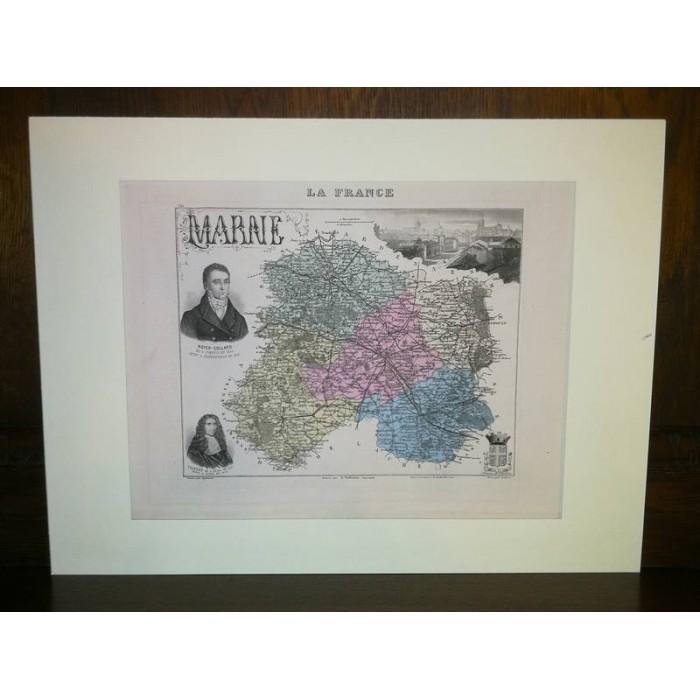 Carte ancienne Authentique de la Marne 1861