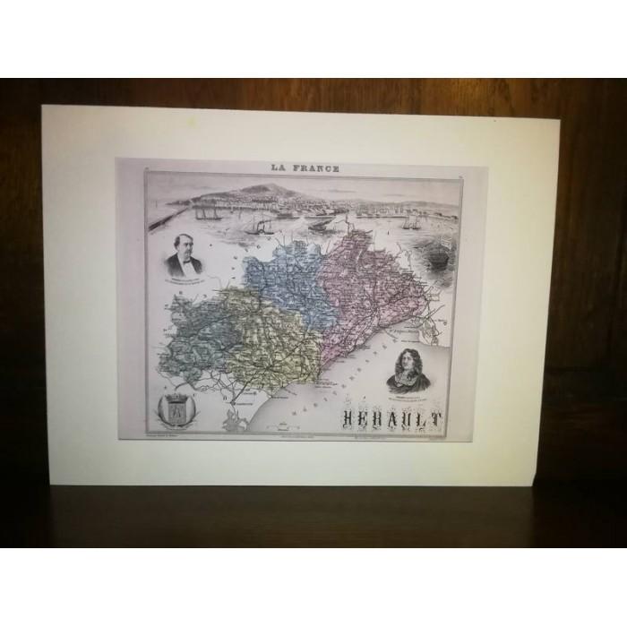 Carte ancienne Authentique de l'Hérault 1861