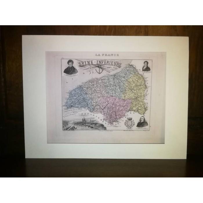 Carte ancienne Authentique de la Seine-Inférieure 1861