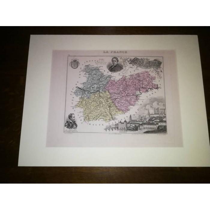 Carte ancienne Authentique du Tarn et Garonne 1861