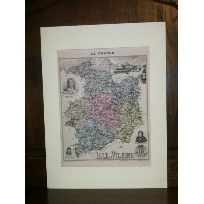 Carte ancienne Authentique d'Ille et Vilaine 1861