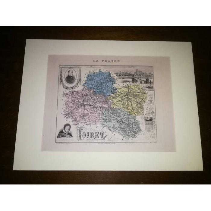 Carte ancienne Authentique du Loiret 1861