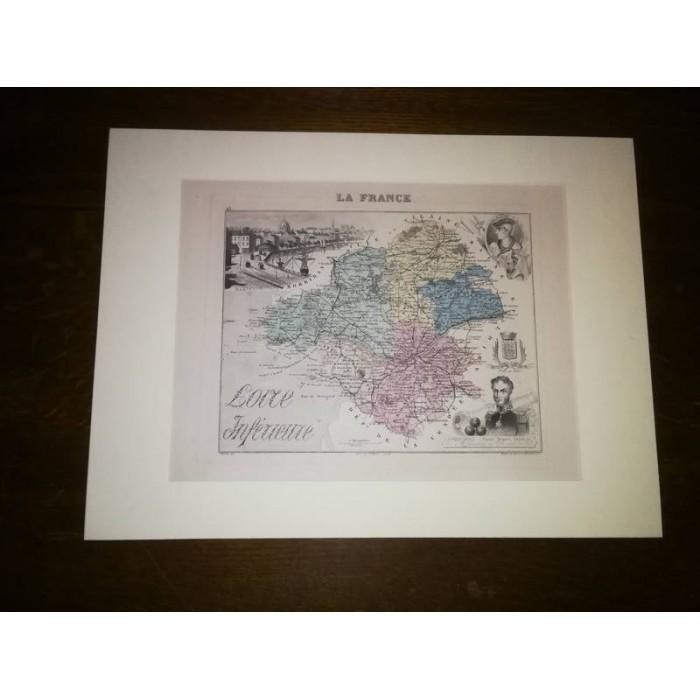 Carte ancienne Authentique de la Loire Inférieure 1861