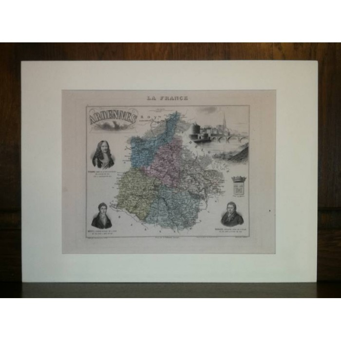 Carte ancienne Authentique des Ardennes 1861