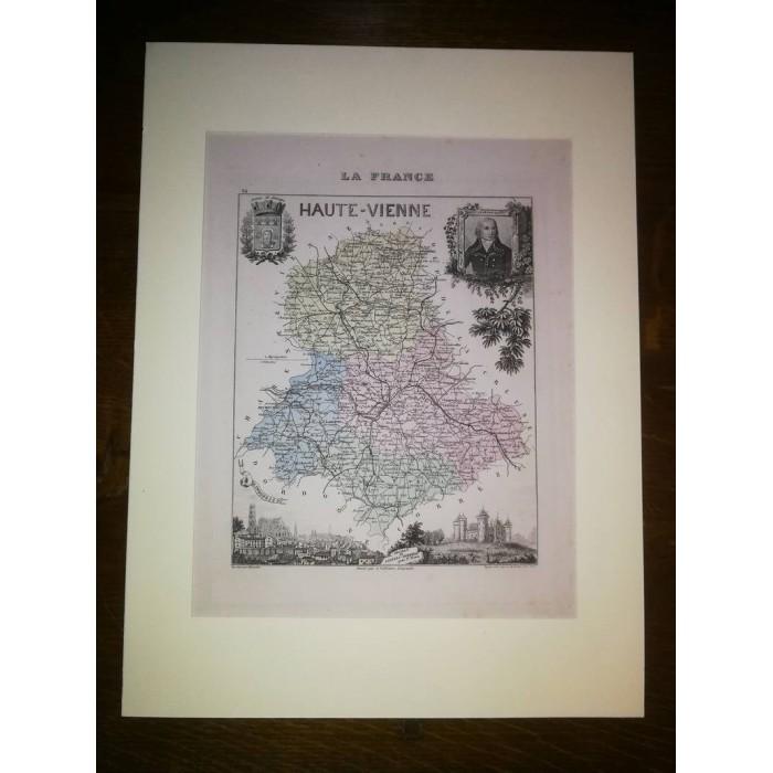 Carte ancienne Authentique de la Haute-Vienne