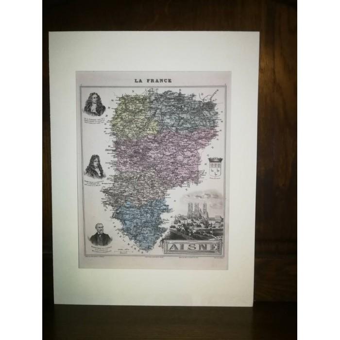 Carte ancienne Authentique de l'Aisne 1861