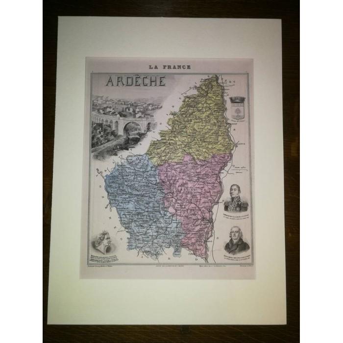 Carte ancienne Authentique de l'Ardèche 1861