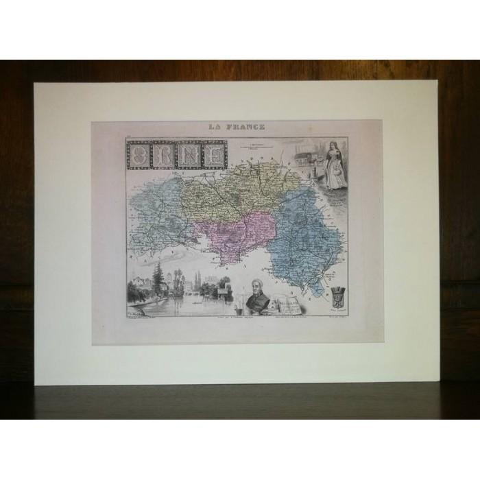 Carte ancienne Authentique de l'Orne 1861
