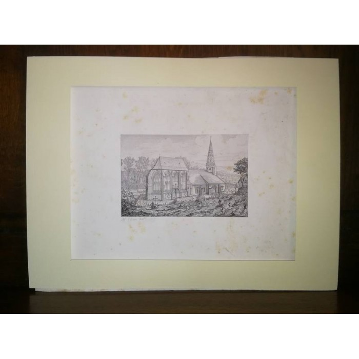 L'Eglise de Wismes par Robaut Eau forte XIXème siècle Paysage
