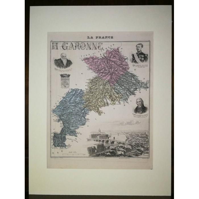 Carte ancienne Authentique de la Haute-Garonne 1861