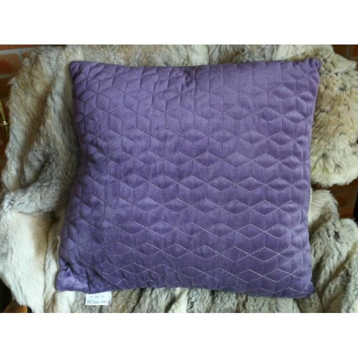 Coussin diamant violet à motif géométrique