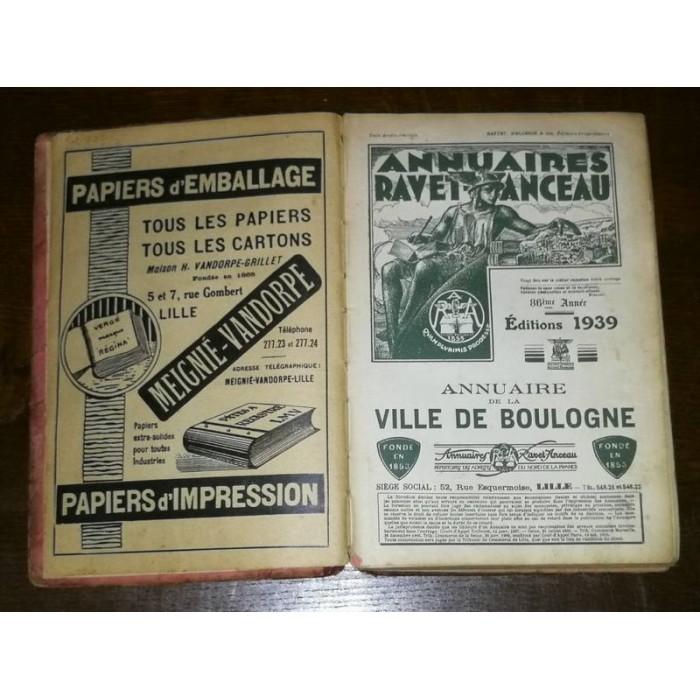 Annuaires Ravet-Anceau Annuaire de la Ville de Boulogne 1939