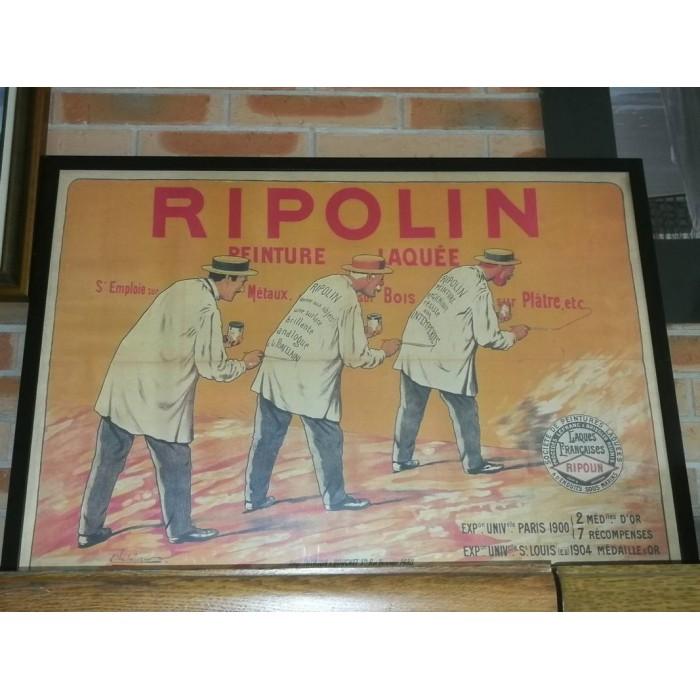 Affiche de publicité ancienne Ripolin authentique