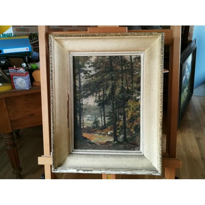 Huile sur toile représentant un paysage, sous bois